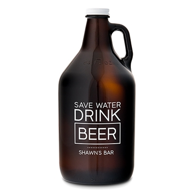 Amber Glass Personalized Growler Save Water Drink Beer Gift For Men
