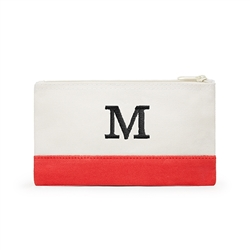 Colourblock Cosmetic Bag - Coral / Soft Red