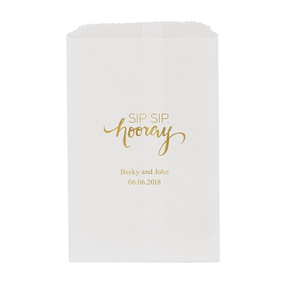 """Sip Sip, Hooray"" Printed Flat Paper Goodie Bag (set of 25)"