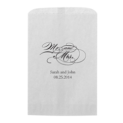 Mr And Mrs - Script Printed Flat Paper Goodie Bag (set of 25)