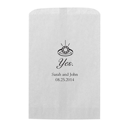 Yes (to the ring) Printed Flat Paper Goodie Bag  (set of 25)