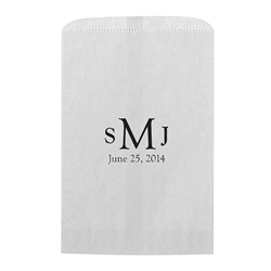 Traditional Monogram Personalized Flat Paper Goodie Bag (set of 25)