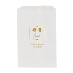 Sweet Silhouette - Ponytail Bride and Spiked Hair Groom Printed Flat Paper Goodie Bag  (set of 25)