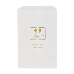 Sweet Silhouette - Bride With Bun And Short Hair Groom Printed Flat Paper Goodie Bag (set of 25)