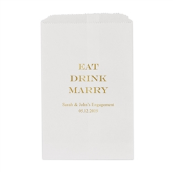 Eat Drink Marry Printed Flat Paper Goodie Bag (set of 25)
