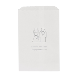Stylized Bride and Groom Personalized Flat Paper Goodie Bag (set of 25)
