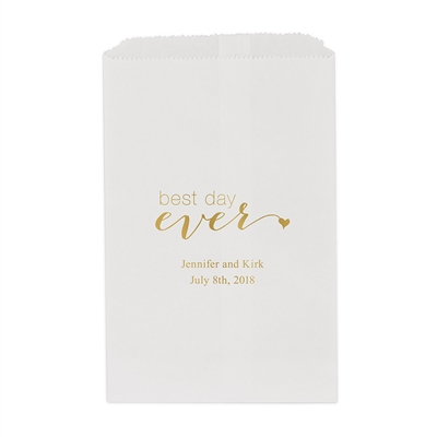 """best day ever"" Printed Flat Paper Goodie Bag (set of 25)"