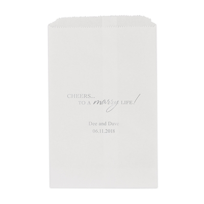 """Cheers To A Marry Life"" Flat Paper Goodie Bag (set of 25)"