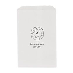 Gemstone Initial Printed Flat Paper Goodie Bag (set of 25)