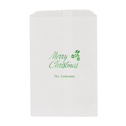 Merry Christmas Printed Flat Paper Goodie Bag (set of 25)