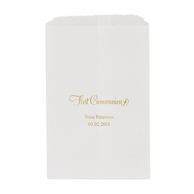 First Communion Printed Flat Paper Goodie Bag (set of 25)