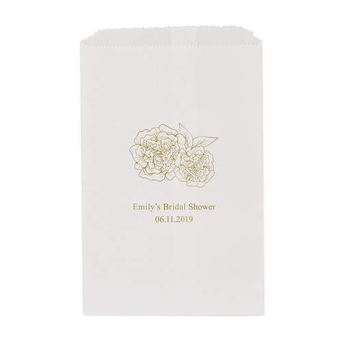 Shabby Chic Floral Printed Flat Paper Goodie Bag Set Of 25
