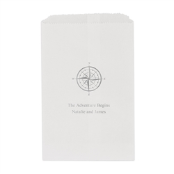 Vintage Travel Compass Printed Flat Paper Goodie Bag (set of 25)