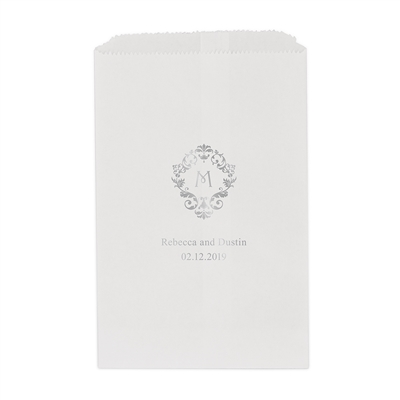 Classic Filigree Initial Printed Flat Paper Goodie Bag (set of 25)