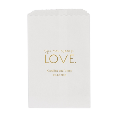 All You Need is Love. Printed Flat Paper Goodie Bag (set of 25)