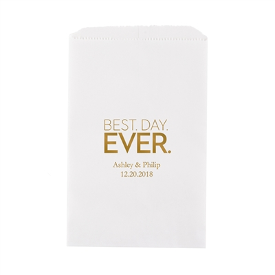 Best Day Ever - Block Style Printed Flat Paper Goodie Bag(set of 25)