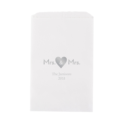 Mrs. & Mrs. Heart Printed Flat Paper Goodie Bag(set of 25)