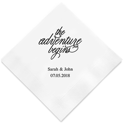 """the Adventure Begins"" Printed Napkins"