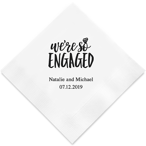 we re so engaged printed napkins on sale at the wedding shoppe canada