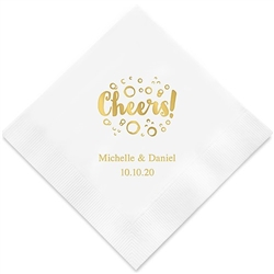 Cheers With Bubbles Printed Napkins