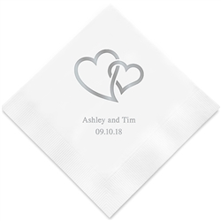 Linked Double Hearts Printed Napkins