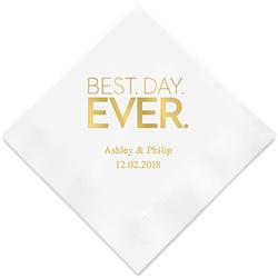 Best Day Ever - Block Style Printed Napkins(set of 100)