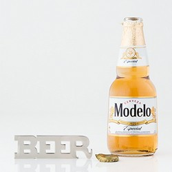 """Beer"" Opener With Magnets - Silver"