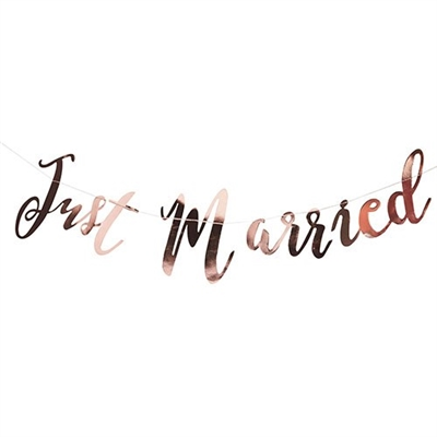 Just Married Metallic Rose Gold Wedding Banner