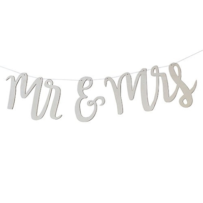 Mr And Mrs Wooden Wedding Banner