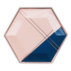 Rose Gold & Navy Hexagon Party Plates - Large. (pkg of 8)