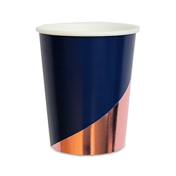 Rose Gold & Navy Paper Party Cups - 9 Oz.  (pkg of 8)