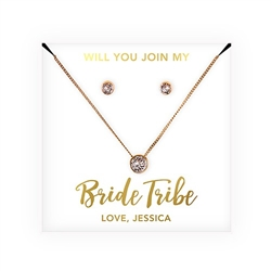 Swarovski Crystal Earring & Solitaire Necklace Set - Bride Tribe Design