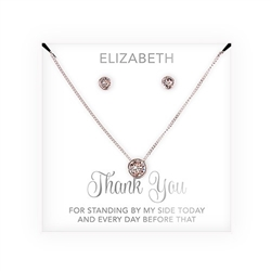 Swarovski Crystal Earring & Solitaire Necklace Set - Thank You Script Design