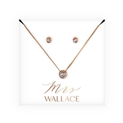 Swarovski Crystal Earring & Solitaire Necklace Set - Mrs. Design