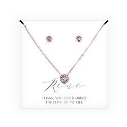 Crystal Earring & Solitaire Necklace Set - Mother-In-Law Thank You Design