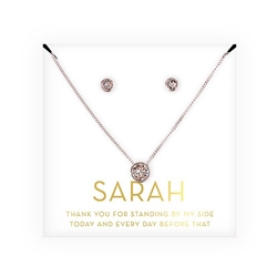 Crystal Earring & Solitaire Necklace Set - Thank You Design