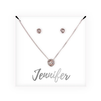 Crystal Earring & Solitaire Necklace Set - Cursive Design
