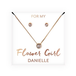 Crystal Earring & Solitaire Necklace Set - Flower Girl Design