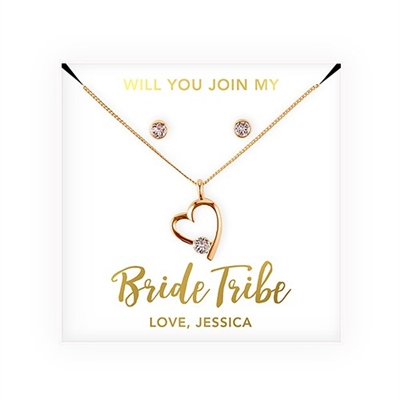 Personalized Bridal Party Heart & Crystal Jewellery Gift Set - Bride Tribe Design