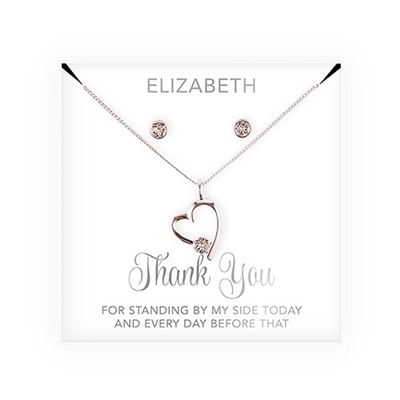 Personalized Bridal Party Heart & Crystal Jewellery Gift Set  - Thank You Script Design