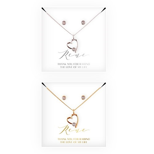 Personalized Bridal Party Heart & Crystal Jewellery Gift Set -  Mother-In-Law Thank You Design