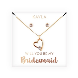 Personalized Bridal Party Heart & Crystal Jewellery Gift Set - Will you be Design