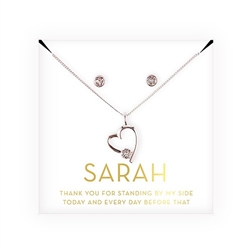 Personalized Bridal Party Heart & Crystal Jewellery Gift Set - Thank You Design