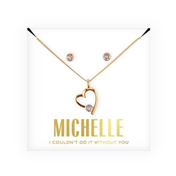 Personalized Bridal Party Heart & Crystal Jewellery Gift Set - Couldn't Do It Without You Design