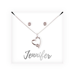 Personalized Bridal Party Heart & Crystal Jewellery Gift Set - Cursive Design
