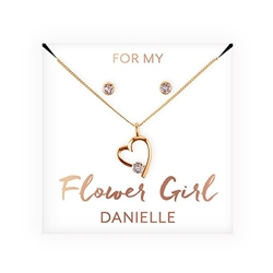 Personalized Bridal Party Heart & Crystal Jewellery Gift Set - Flower Girl Design