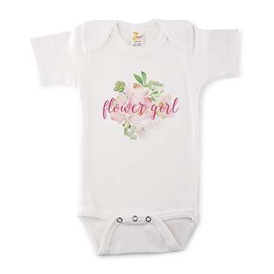 Cute Personalized White Baby Onesie - Floral Design (5 Colors)