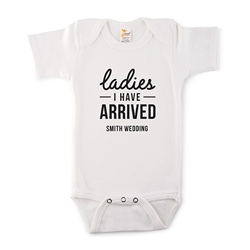 Cute Personalized White Baby Onesie - I Have Arrived Design