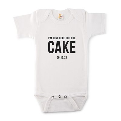Cute Personalized White Baby Onesie - Here For The Cake Design