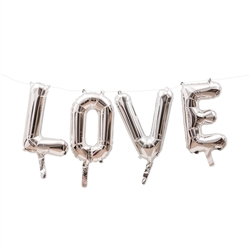 Silver Mylar Foil Letter Balloon Decoration - Love